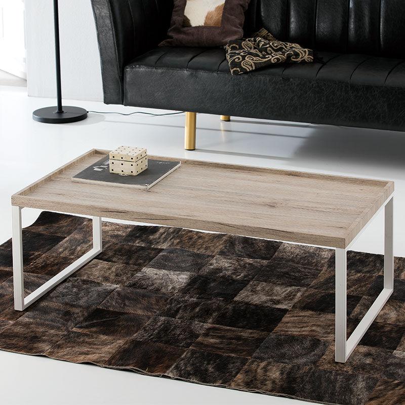 Table basse moderne bois et metal