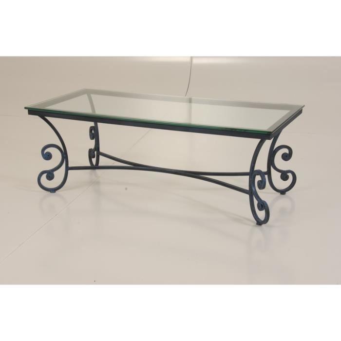 Table basse en fer forge et bois