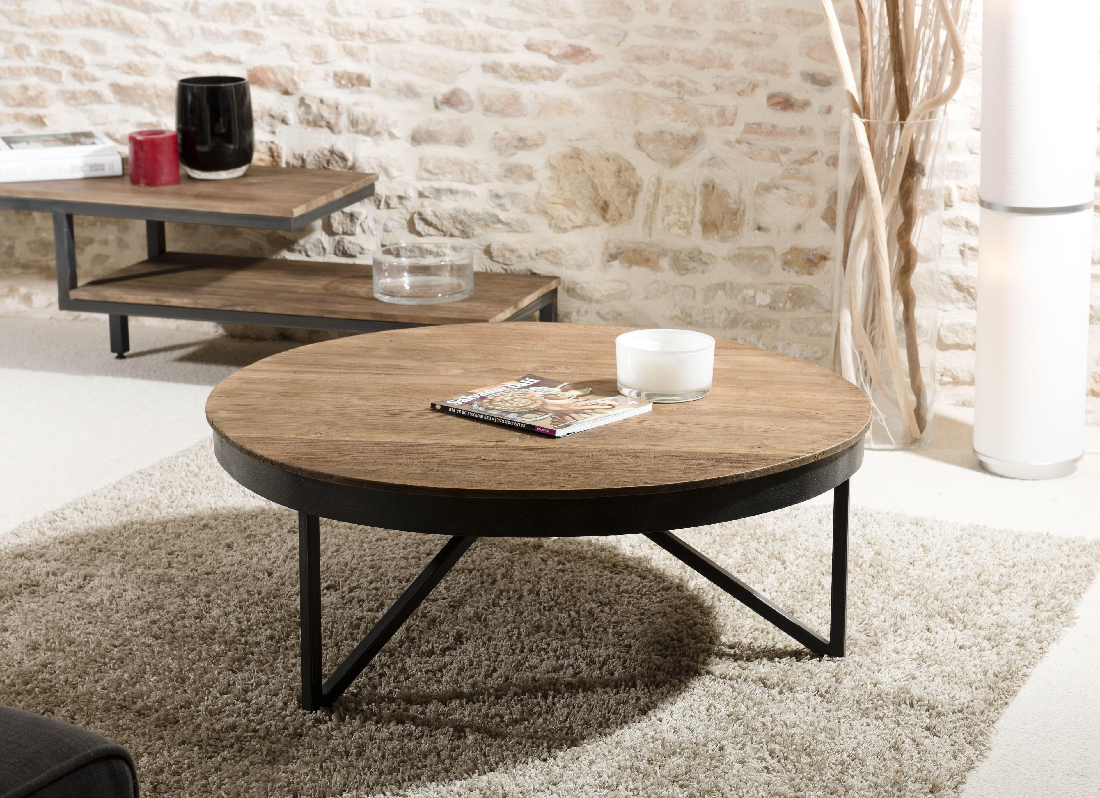 Table basse bois design ronde