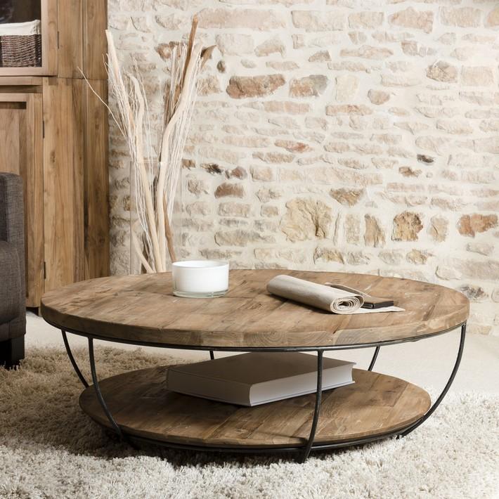Table basse 2 plateaux bois metal