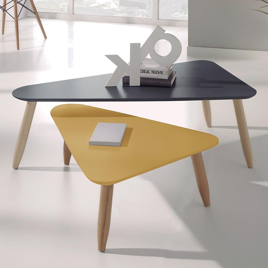 Table basse scandinave gris et jaune