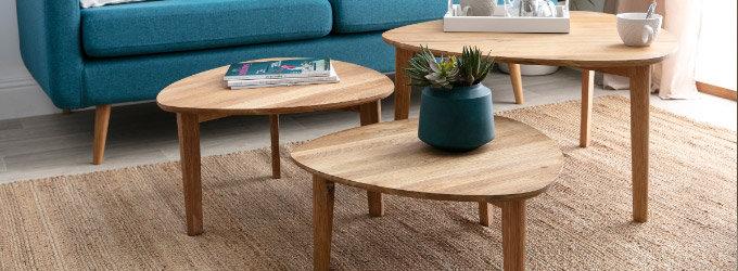 Table basse bois plateau tournant